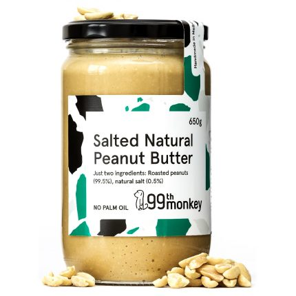 99th Monkey - Salted Natural Peanut Butter 325g Front