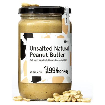 99th Monkey - Unsalted Natural Peanut Butter 325g Front