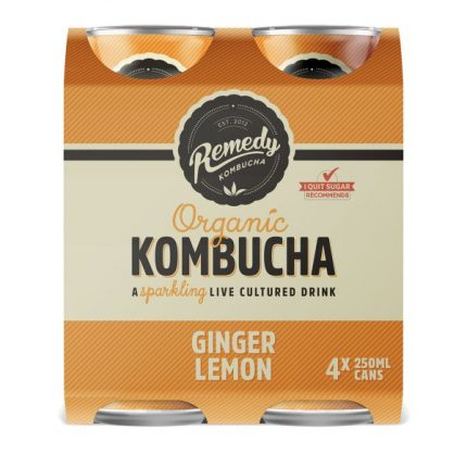 Remedy Kombucha Multi Pack - Ginger & Lemon (4 x 250ml)