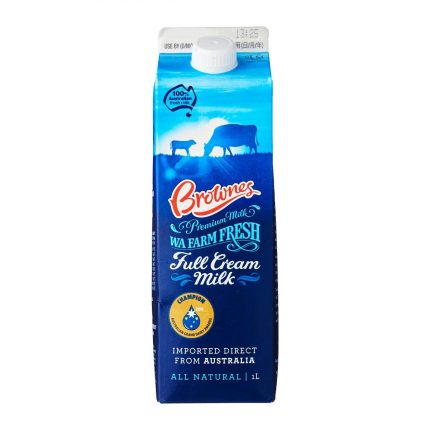 Brownes WA Farm Fresh Full Cream Milk 1L Front