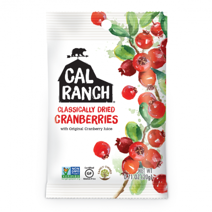 Cal Ranch Classically Dried Cranberries 20g Front