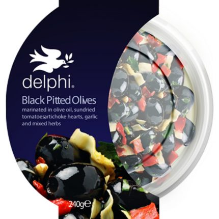 Delphi Food Black Pitted Kalamata Olives with Herbs 240g Front