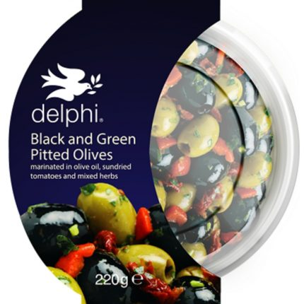 Delphi Food Black and Green Pitted Olives 220g Front