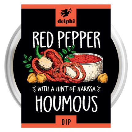 Delphi Food Chargrilled Red Pepper Houmous Dip Front
