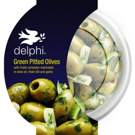 Delphi Food Green Olives with Coriander Dill Garlic 240g Front