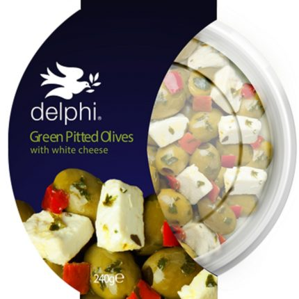 Delphi Food Green Pitted Olives with Feta Cheese 240g Front
