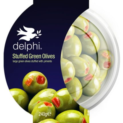 Delphi Food Green Stuffed Olives with Pimento 240g Front