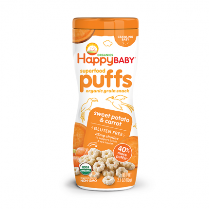 Happy Family Happ Baby Superfood Puffs - Sweet Potato & Carrot (Gluten Free) Front