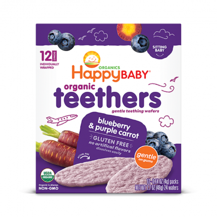 Happy Family Happy Baby Gentle Teethers - Blueberry & Purple Carrot Front