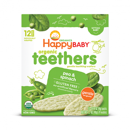 Happy Family Happy Baby Gentle Teethers - Pea & Spinach Front