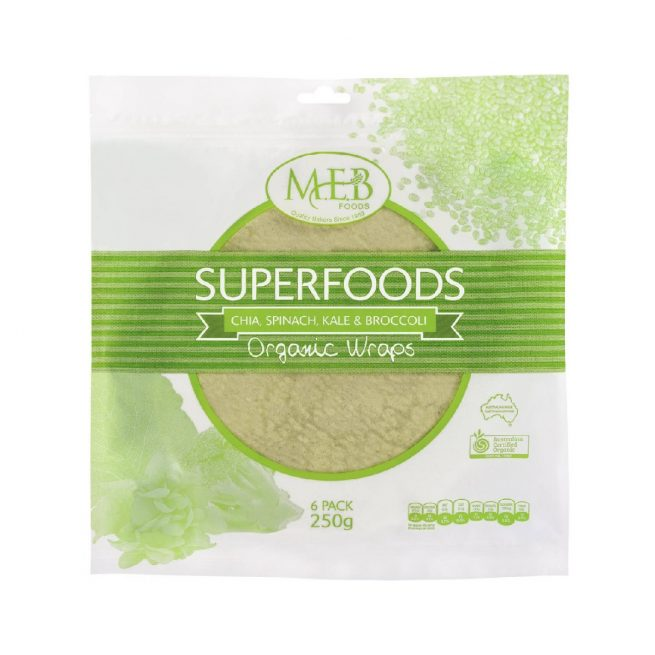 Organic Superfoods Wraps - Chia, Spinach, Kale & Broccoli