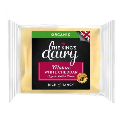 The King's Dairy Organic Mature White Cheddar 200g Front