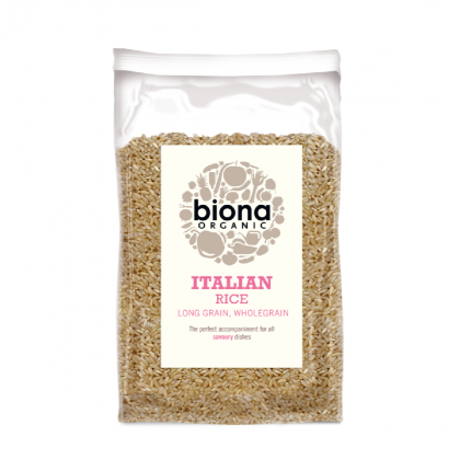 Biona Organic Long Grain Italian Brown Rice 500g Front