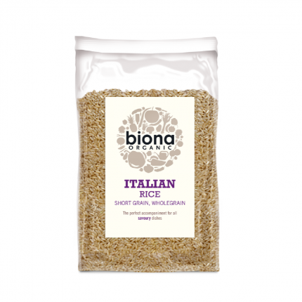 Biona Organic Short Grain Italian Brown Rice 500g Front