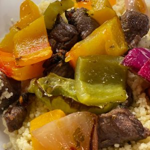 Diced Lamb with Roasted Vegetables and Couscous